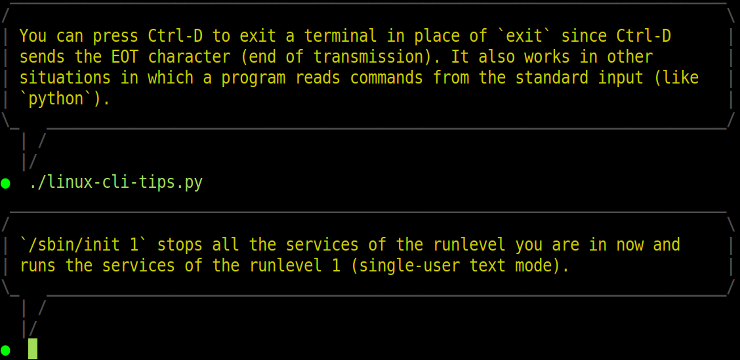 Linux CLI tips screenshot